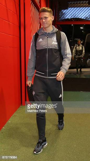 Scott McTominay of Manchester United arrives ahead of the Premier League match between Manchester United and Newcastle United at Old Trafford on...