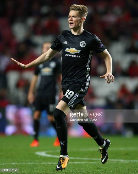 Scott McTominay of Manchester United during the UEFA Champions League group A match between SL Benfica and Manchester United at Estadio da Luz on...
