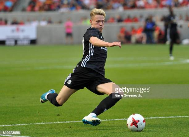 Scott Mctominay of Manchester United goes for the ball against Real Salt Lake during the International friendly game at Rio Tinto Stadium on July 17...