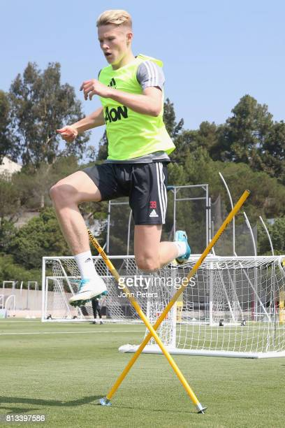 Scott McTominay of Manchester United in action during a first team training session as part of their preseason tour of the USA at UCLA on July 12...
