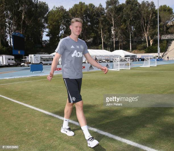 Scott McTominay of Manchester United in action during a first team training session as part of their preseason tour of the USA at UCLA on July 13...