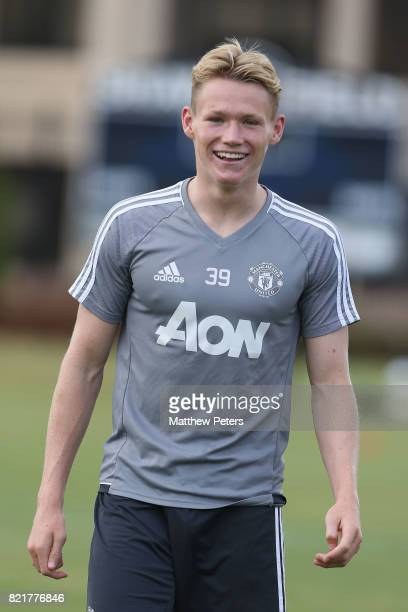 Scott McTominay of Manchester United in action during a first team training session as part of their preseason tour of the USA at Shaw Field on July...