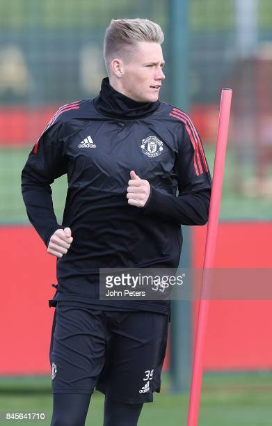 Scott McTominay of Manchester United in action during a first team training session at Aon Training Complex on September 11 2017 in Manchester England