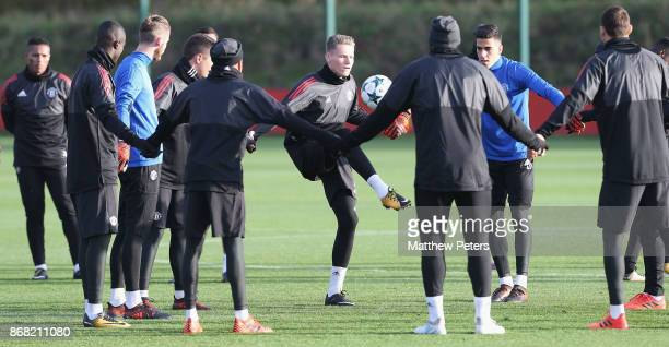 Scott McTominay of Manchester United in action during a training session at Aon Training Complex on October 30 2017 in Manchester England