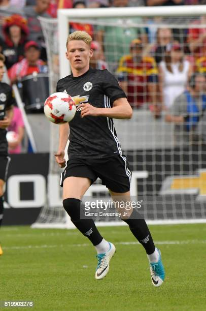 Scott Mctominay of Manchester United looks to control the ball during the International friendly game against Real Salt Lake at Rio Tinto Stadium on...