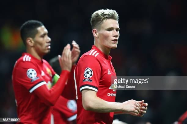 Scott McTominay of Manchester United reacts after the UEFA Champions League group A match between Manchester United and SL Benfica at Old Trafford on...