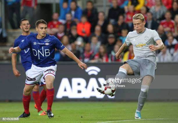 Scott McTominay of Manchester United scores the third goal during the preseason friendly match between Valerenga and Manchester United at Ullevaal...