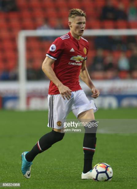 Scott McTominay of Manchester United U23s in action during the Premier League 2 match between Manchester United U23s and Swansea City U23s at Leigh...