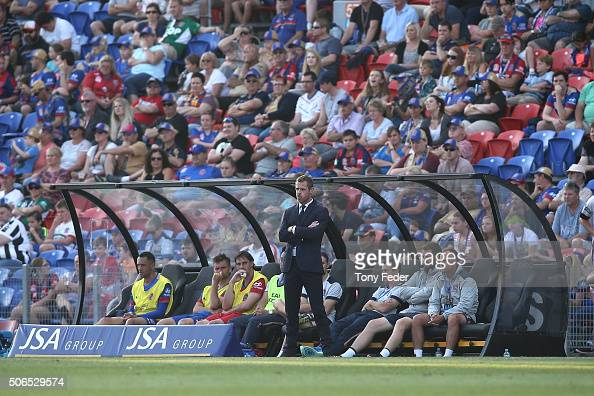 Scott Miller coach of the Jets during the round 16 ALeague match between the Newcastle Jets and the Perth Glory at Hunter Stadium on January 24 2016...