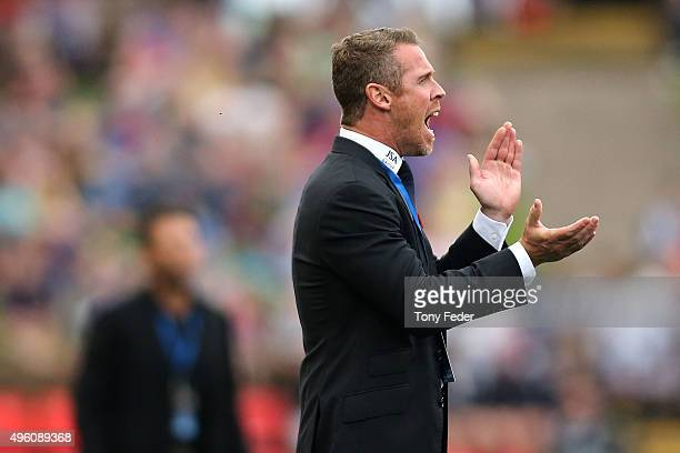 Scott Miller coach of the Jets during the round five ALeague match between the Newcastle Jets and the Western Sydney Wanderers at Hunter Stadium on...