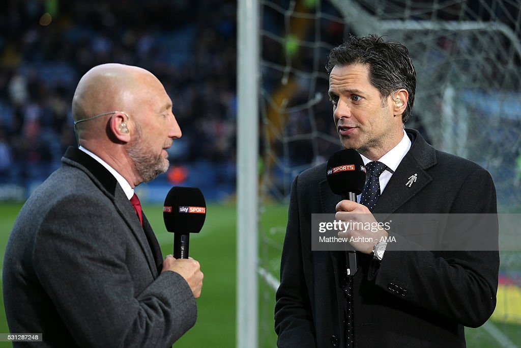 Scott Minto and Ian Holloway work as pundits for Sky Sports during the Sky Bet Championship Play Off First Leg match between Sheffield Wednesday and...