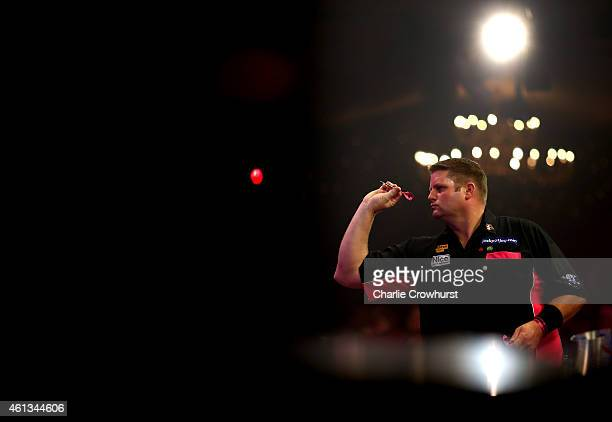 Scott Mitchell of England in action during the mens final against Martin Adams of England during the BDO Lakeside World Professional Darts...