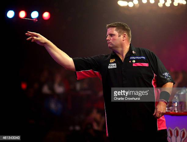 Scott Mitchell of England in action during the mens final match against Martin Adams of England during the BDO Lakeside World Professional Darts...