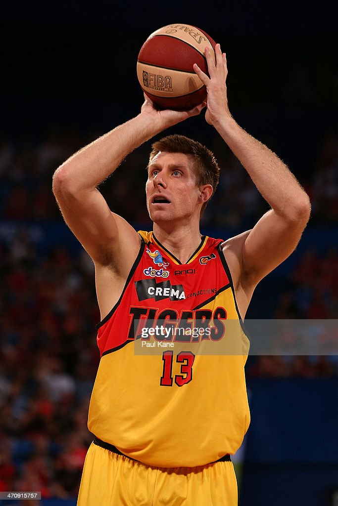Scott Morrison of the Tigers shoots a free throw during the round 19 NBL match between the Perth Wildcats and the Melbourne Tigers at Perth Arena on February 21, 2014 in Perth, Australia.