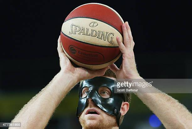 Scott Morrison of the Tigers shoots a free throw during the round 21 NBL match between the Melbourne Tigers and the Sydney Kings at Hisense Arena in...