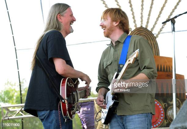 Scott Murawski and Trey Anastasio perform with Mike Gordon's band on the Ranch Sherwood Court Stage during the Rothbury Music Festival 08 on July 6...