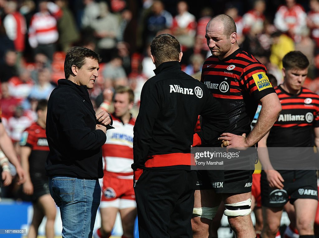 Scott Murphy, High Performance Director (left) Mark McCall, Director of Rugby (centre) and Steve Borthwick (right) of Saracens at the end of the Aviva Premiership match between Gloucester and Saracens at Kingsholm Stadium on April 20, 2013 in Gloucester, England.