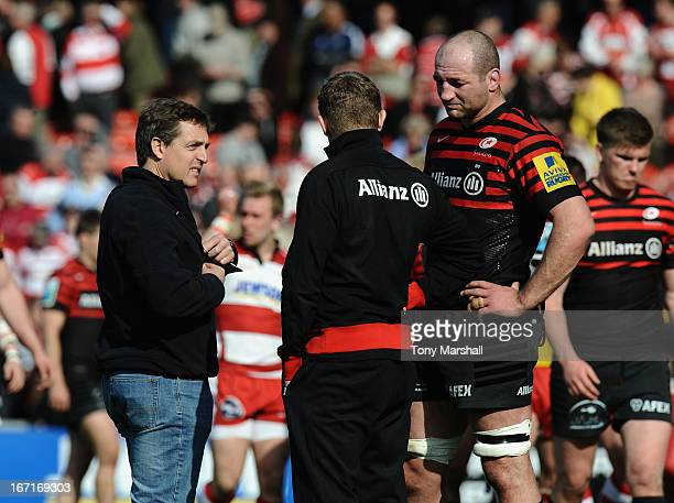 Scott Murphy High Performance Director Mark McCall Director of Rugby and Steve Borthwick of Saracens at the end of the Aviva Premiership match...
