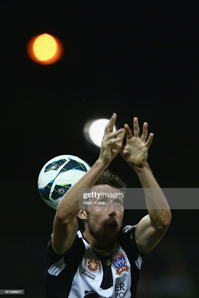 Scott Neville of the Jets drops the ball as he attempts to throw it in during the round 20 A-League match between the Western Sydney Wanderers and the Newcastle Jets at Campbelltown Sports Stadium on February 9, 2013 in Sydney, Australia.