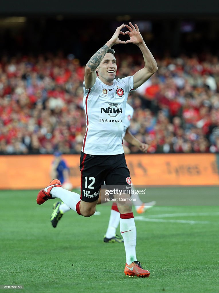 Scott Neville of the Wanderers celebrates after scoring a goal during the 2015/16 A-League Grand Final match between Adelaide United and the Western Sydney Wanderers at Adelaide Oval on May 1, 2016 in Adelaide, Australia.
