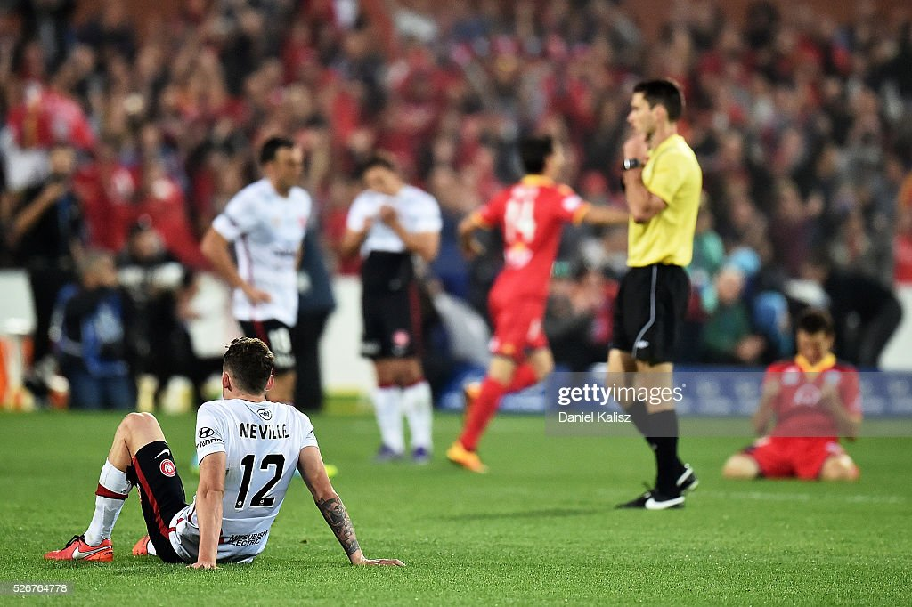 Scott Neville of the Wanderers shows dejection after the 2015/16 A-League Grand Final match between Adelaide United and the Western Sydney Wanderers at Adelaide Oval on May 1, 2016 in Adelaide, Australia.