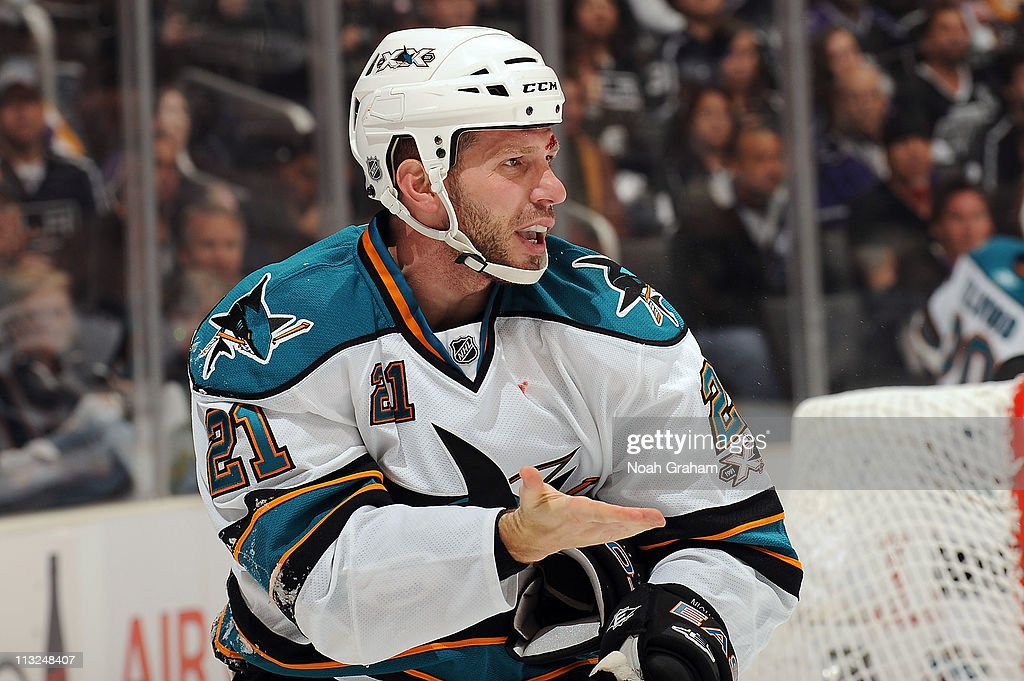 Scott Nichol of the San Jose Sharks is cut against the Los Angeles Kings in Game Four of the Western Conference Quarterfinals during the 2011 NHL...