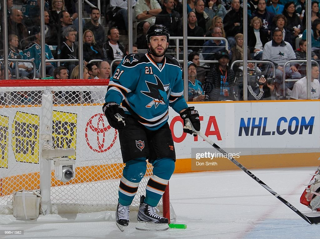 Scott Nichol of the San Jose Sharks waits for a call against the Detroit Red Wings in Game Five of the Western Conference Semifinals during the 2010...