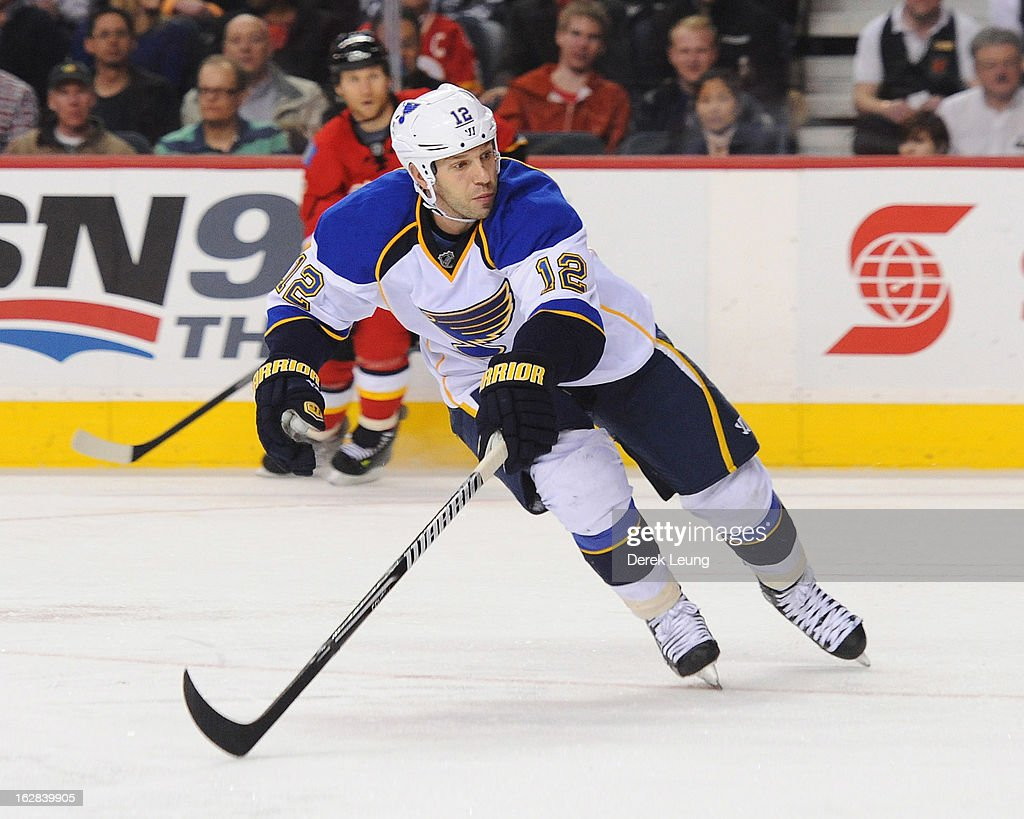 Scott Nichol of the St Louis Blues skates against the Calgary Flames during an NHL game at Scotiabank Saddledome on February 15 2013 in Calgary...