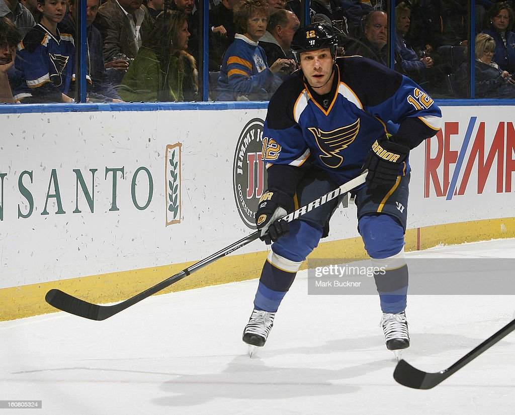 Scott Nichol of the St Louis Blues skates against the Nashville Predators in an NHL game on February 5 2013 at Scottrade Center in St Louis Missouri