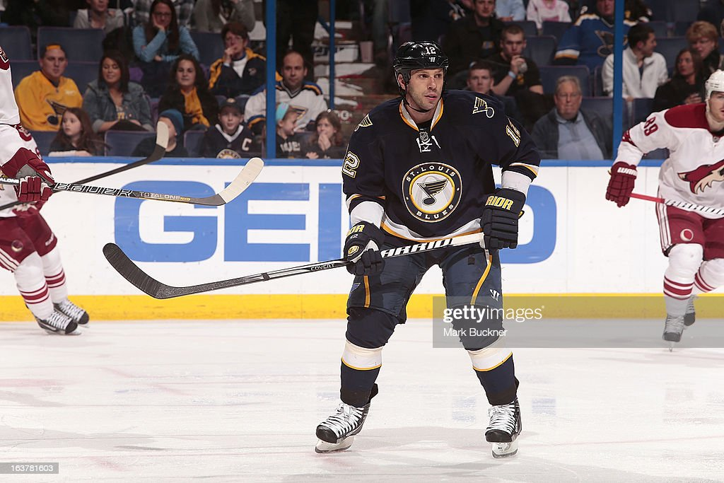 Scott Nichol of the St Louis Blues skates against the Phoenix Coyotes in an NHL game on March 14 2013 at Scottrade Center in St Louis Missouri