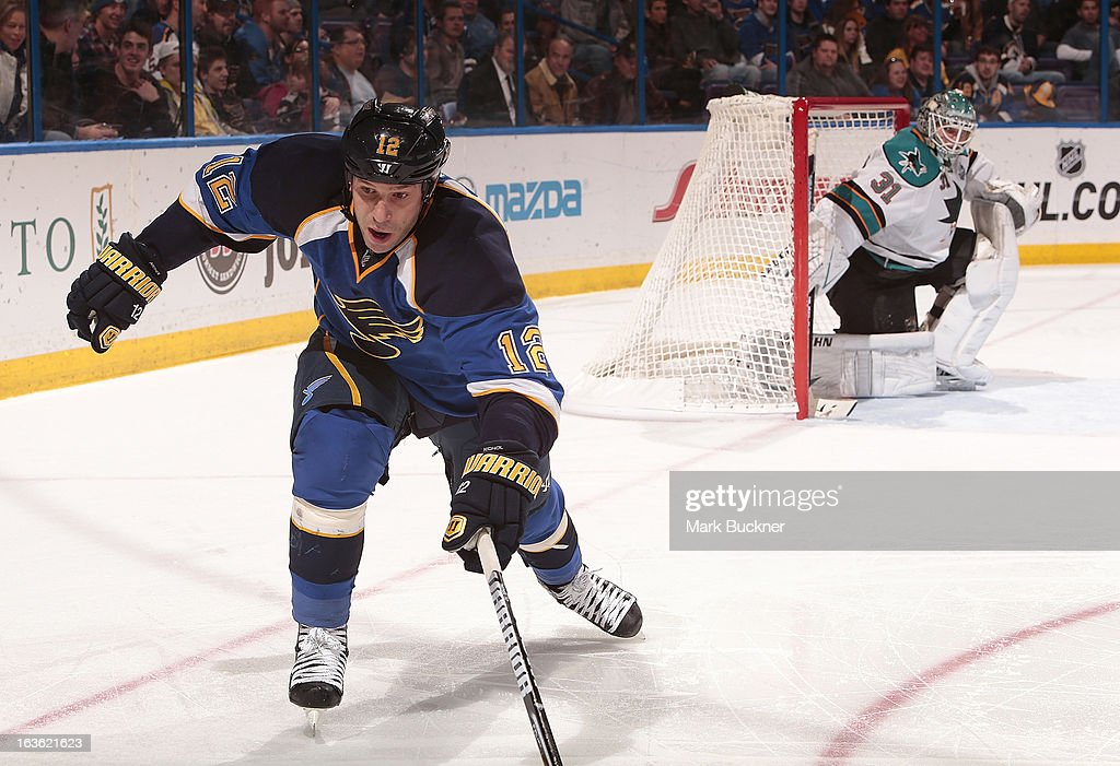 Scott Nichol of the St Louis Blues skates against the San Jose Sharks in an NHL game on March 12 2013 at Scottrade Center in St Louis Missouri