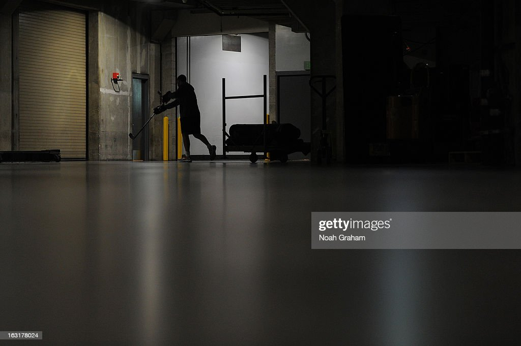 Scott Nichol of the St Louis Blues warms up before a game against the Los Angeles Kings at Staples Center on March 5 2013 in Los Angeles California