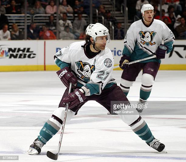 Scott Niedermayer of the Anaheim Mighty Ducks skates against the Los Angeles Kings on April 8 2006 at the Staples Center in Los Angeles California