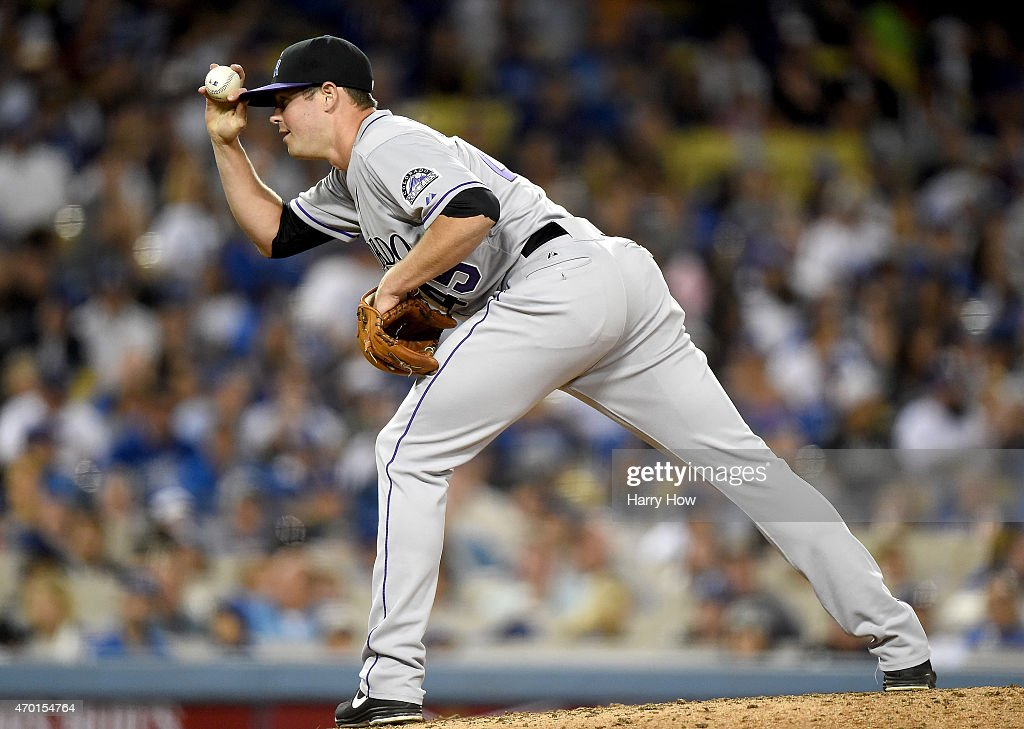Scott Oberg #45 of the Colorado Rockies pitches in relief during the fifth inning against the Los Angeles Dodgers at Dodger Stadium on April 17, 2015 in Los Angeles, California.
