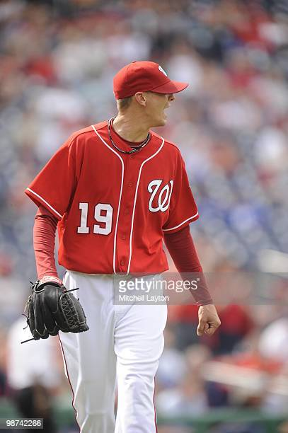 Scott Olsen of the Washington Nationals looks on during a baseball game against the Los Angeles Dodgers on April 25 2010 at Nationals Park in...