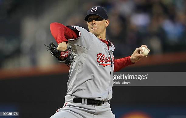 Scott Olsen of the Washington Nationals pitches against the New York Mets at Citi Field on May 11 2010 in the Flushing neighborhood of the Queens...