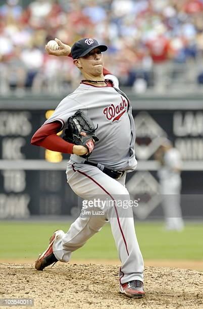Scott Olsen of the Washington Nationals pitches against the Philadelphia Phillies on August 22 2010 at Citizens Bank Park in Philadelphia Pennsylvania