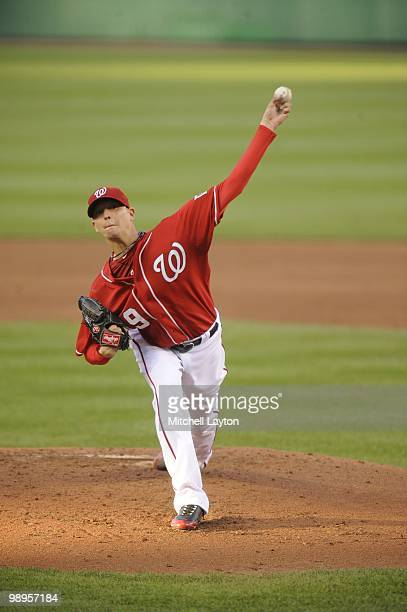 Scott Olsen of the Washington Nationals pitches during a baseball game against the Atlanta Braves on May 6 2010 at Nationals Park in Washington DC