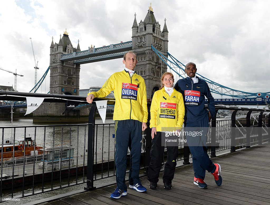 Scott Overall, Amy Whitehead and Mo Farah attend the British atheletes photocall ahead of The the London Marathon at The Tower Hotel on April 18, 2013 in London, England.