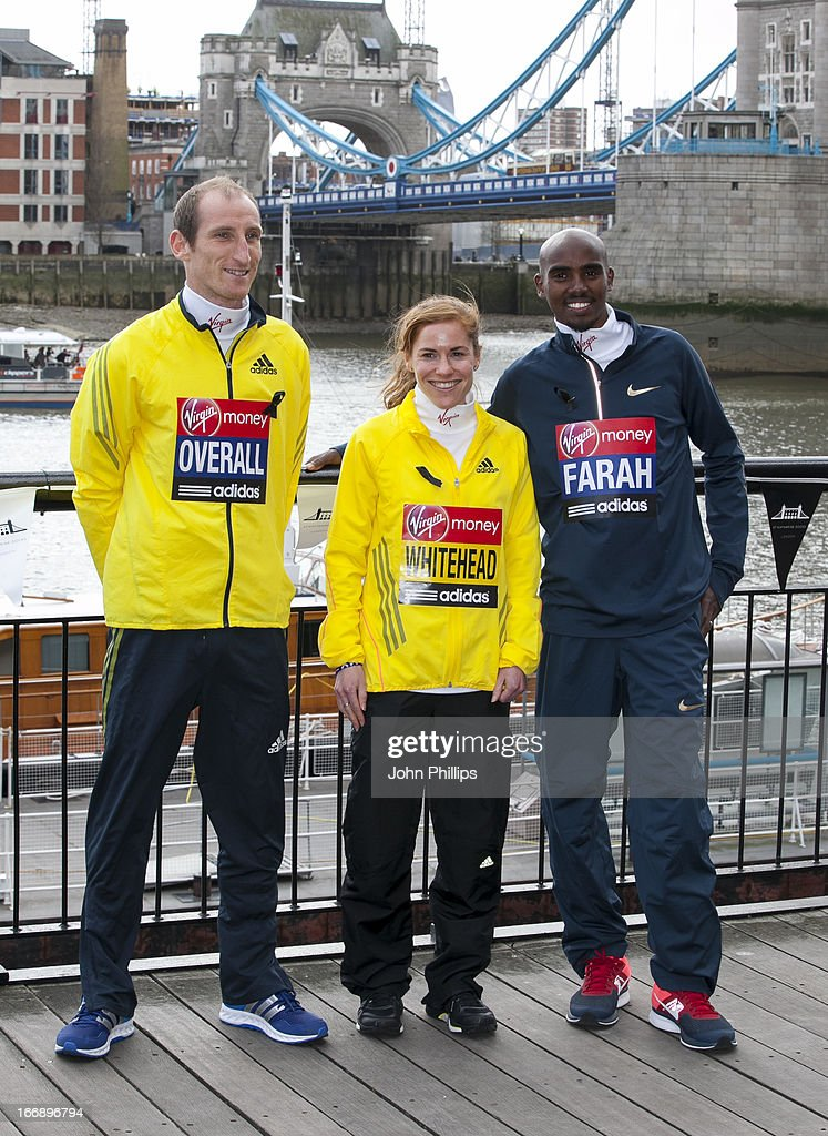 Scott Overall and Amy Whitehead and Mo Farah attends the British atheletes photocall ahead of The the London Marathon at The Tower Hotel on April 18, 2013 in London, England.