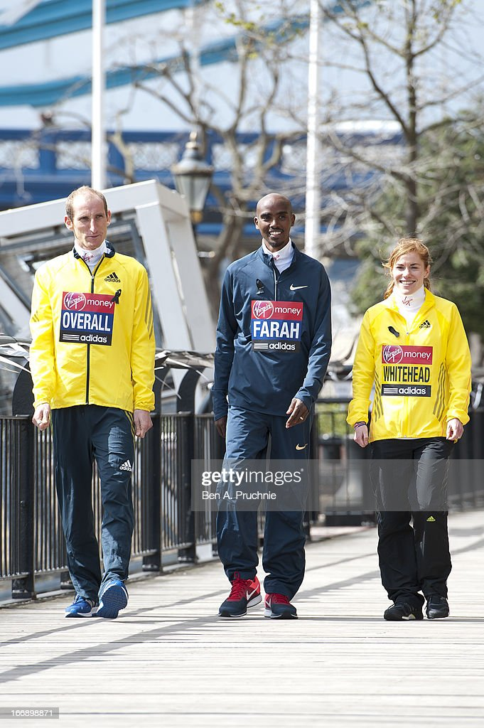 Scott Overall, Mo Farah and Amy Whitehead attends the British atheletes photocall for the British athletes ahead of The the London Marathon at The Tower Hotel on April 18, 2013 in London, England.