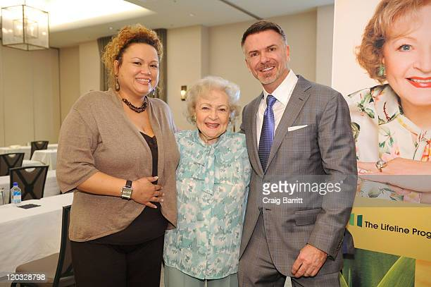 Scott Page Snowky D Incocencio and Betty Page attend the Lifeline Program Presents Production Performance And Profit Luncheon at Luxe Hotel on July...