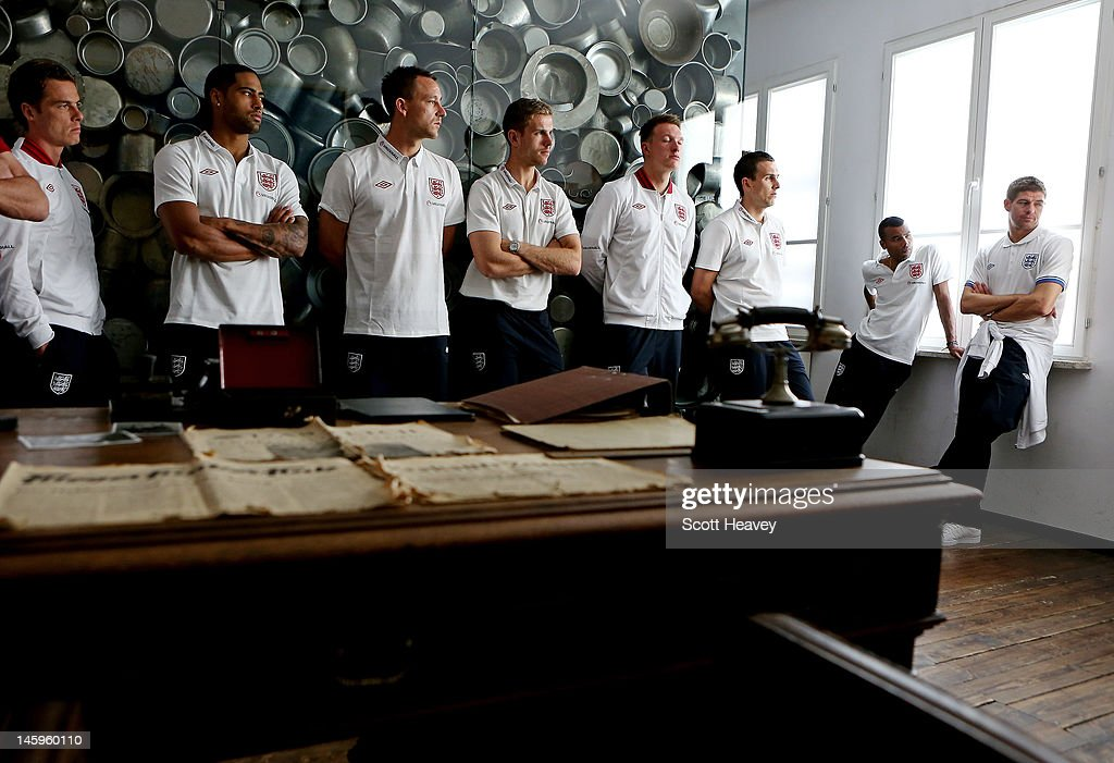 Scott Parker, Glen Johnson, John Terry, Jordan Henderson, Phil Jones, Stewart Downing, Ashley Cole and Steven Gerrard during a visit by an England Football Association delegation to the Schindler Factory, ahead of Euro 2012, on June 8, 2012 in Oswiecim, Poland.