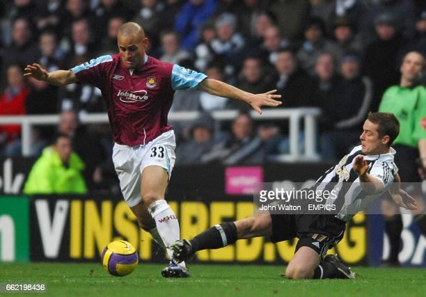 Scott Parker Newcastle United and Nigel Quashie West Ham United battle for the ball