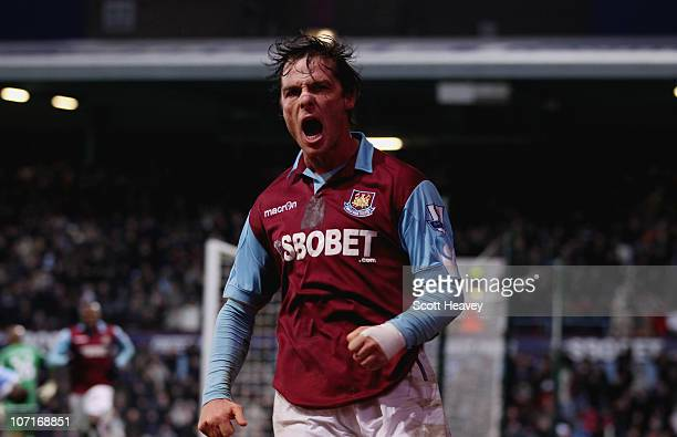 Scott Parker of West Ham celebrates after scoring their third goal goal during the Barclays Premier League match between West Ham United and Wigan...