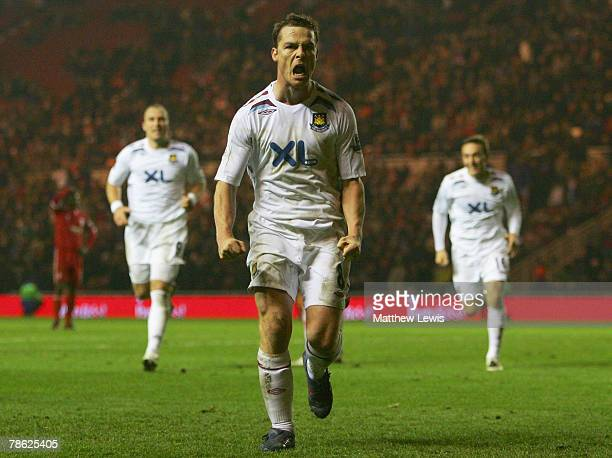 Scott Parker of West Ham celebrates his goal during the Barclays Premier League match between Middlesbrough and West Ham United at the Riverside...