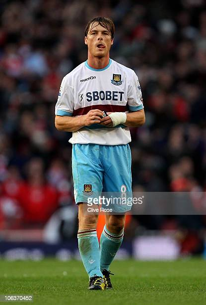 Scott Parker of West Ham shows his disapointment during the Barclays Premier League match between Arsenal and West Ham United at Emirates Stadium on...