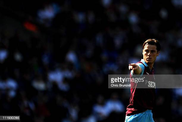 Scott Parker of West Ham United gestures during the Barclays Premier League match between Bolton Wanderers and West Ham United at Reebok Stadium on...