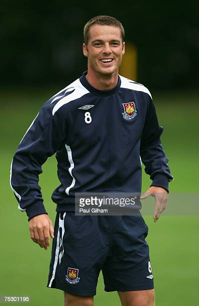 Scott Parker of West Ham United smiles during a West Ham United training session at West Ham United's Chadwell Heath Training Ground on July 10 2007...