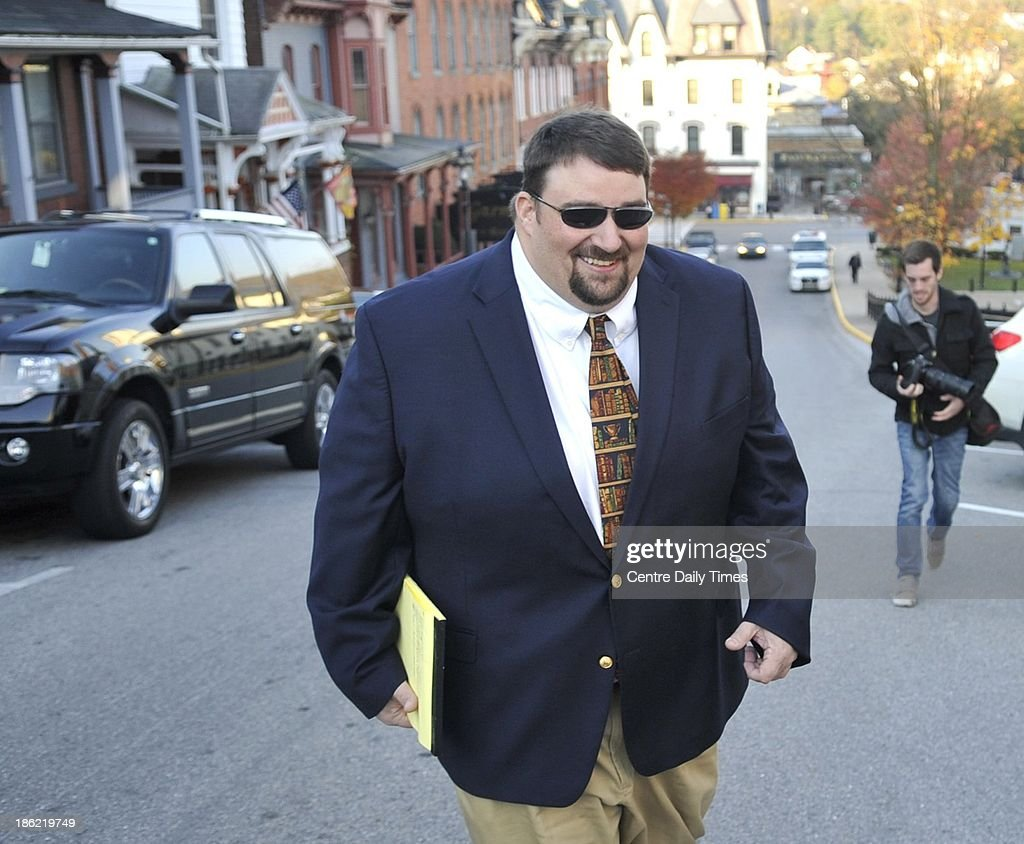 Scott Paterno arrives the Centre County Courthouse in Bellefonte, Pa., on Tuesday, Oct. 29, 2013, where the family of Joe Paterno is suing the NCAA to wipe out sanctions against Penn State based on the abuse of young boys by a former assistant coach and the response by Paterno and the university.